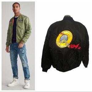 Vintage embroidered music DJ bomber flight jacket